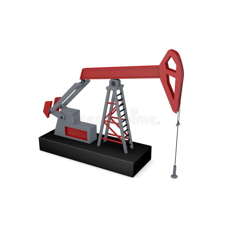 φιλτραρισμένο κόκκινο αντλιών πετρελαίου γρύλων εικόνας η ανασκόπηση απομόνωσε το λευκό τρισδιάστατο illustra απόδοσης ελεύθερη απεικόνιση δικαιώματος