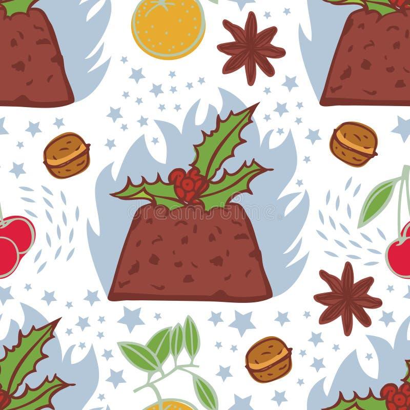Φλεμένος άνευ ραφής σχέδιο πουτίγκας Χριστουγέννων ελεύθερη απεικόνιση δικαιώματος