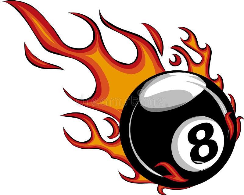 Φλεμένος μπιλιάρδο οκτώ διανυσματικό κάψιμο κινούμενων σχεδίων σφαιρών με τις φλόγες πυρκαγιάς ελεύθερη απεικόνιση δικαιώματος