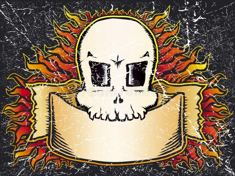 Download φλεμένος grunge κρανίο διανυσματική απεικόνιση. εικονογραφία από αποχής - 2225580