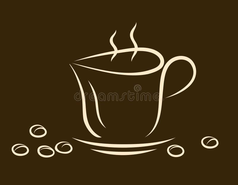Φλιτζάνι του καφέ, ένα πιατάκι και ένα σιτάρι του καφέ σε ένα σκοτεινό backgrou ελεύθερη απεικόνιση δικαιώματος