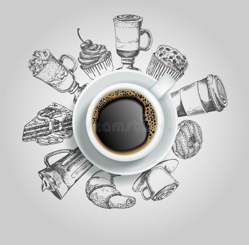 Φλιτζάνι του καφέ με τη διανυσματική δημιουργική απεικόνιση γλυκών ελεύθερη απεικόνιση δικαιώματος