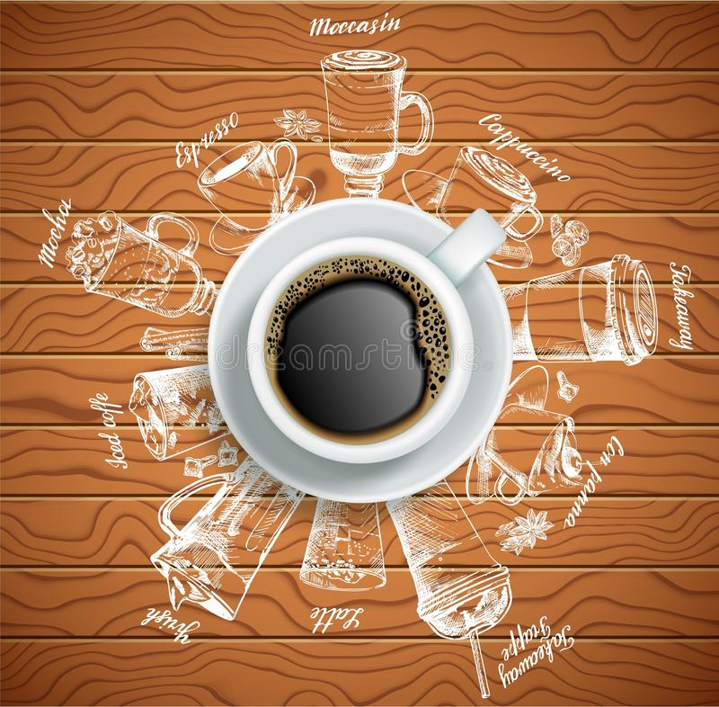 Φλιτζάνι του καφέ με τη διανυσματική δημιουργική απεικόνιση ποτών καφέ ελεύθερη απεικόνιση δικαιώματος