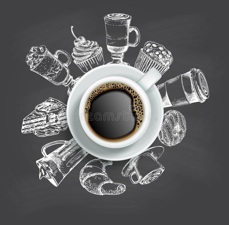 Φλιτζάνι του καφέ με το διανυσματικό πρότυπο σχεδίου πινάκων κιμωλίας γλυκών απεικόνιση αποθεμάτων