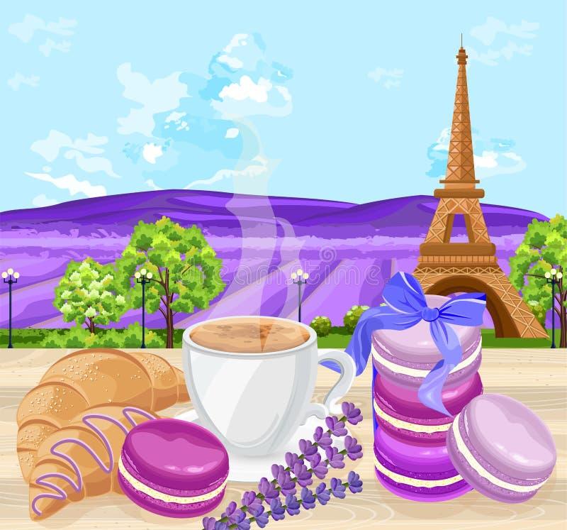 Φλιτζάνι του καφέ με Croissants και macaroons το γαλλικό παραδοσιακό διάνυσμα επιδορπίων Lavender τομείς και πύργος του Άιφελ απεικόνιση αποθεμάτων