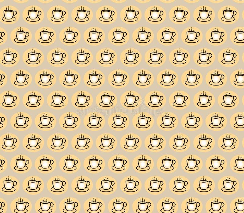 Φλιτζάνι του καφέ στο ελαφρύ υπόβαθρο Άνευ ραφής πρότυπο για το σχέδιο επίσης corel σύρετε το διάνυσμα απεικόνισης απεικόνιση αποθεμάτων