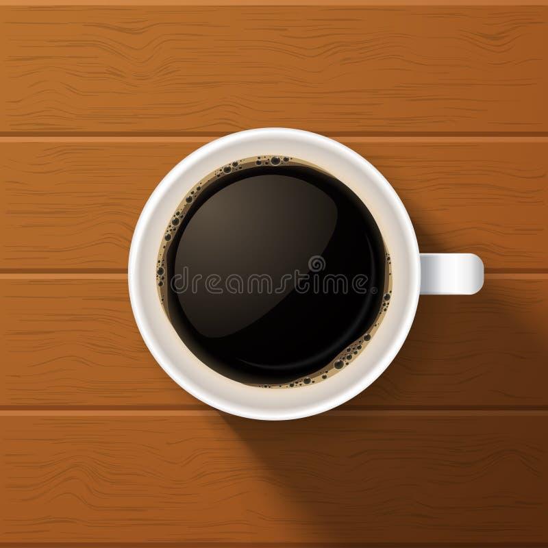 Φλιτζάνι του καφέ στο ξύλινο υπόβαθρο ελεύθερη απεικόνιση δικαιώματος