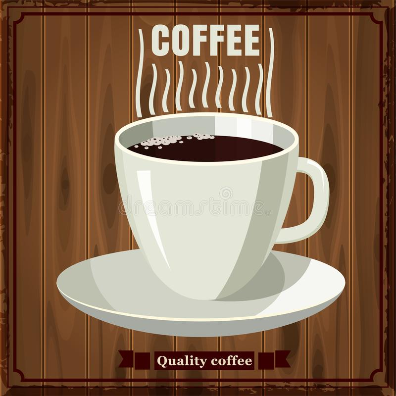Φλιτζάνι του καφέ στο υπόβαθρο των ξύλινων σανίδων, ύφος κινούμενων σχεδίων, διανυσματική απεικόνιση διανυσματική απεικόνιση