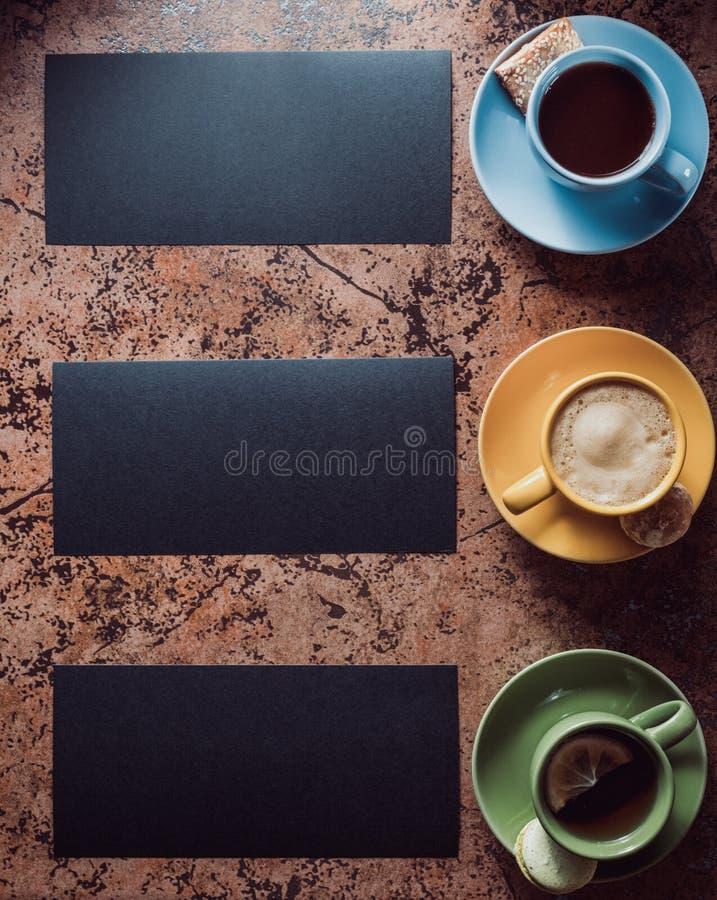 φλιτζάνι του καφέ, τσάι και κακάο στοκ εικόνες με δικαίωμα ελεύθερης χρήσης