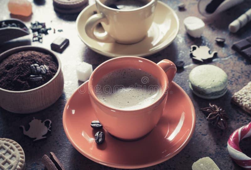 φλιτζάνι του καφέ, τσάι και κακάο στοκ εικόνα