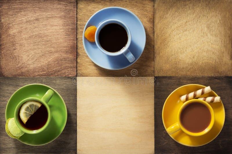 Φλιτζάνι του καφέ, τσάι και κακάο στοκ φωτογραφία με δικαίωμα ελεύθερης χρήσης