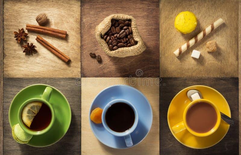 Φλιτζάνι του καφέ, τσάι και κακάο στοκ εικόνες