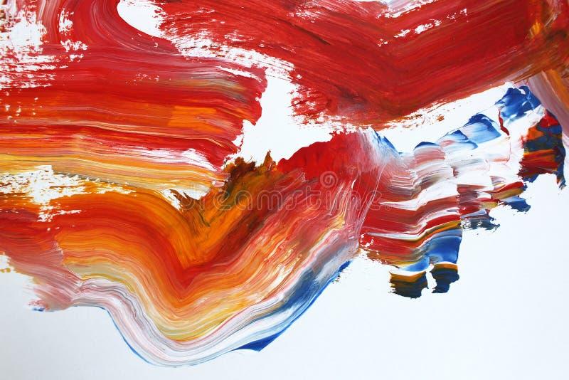 φλογερά κόκκινα κτυπήματα βουρτσών στον καμβά αφηρημένη ανασκόπηση τέχνης Σύσταση χρώματος Τεμάχιο του έργου τέχνης αφηρημένη ζωγ ελεύθερη απεικόνιση δικαιώματος