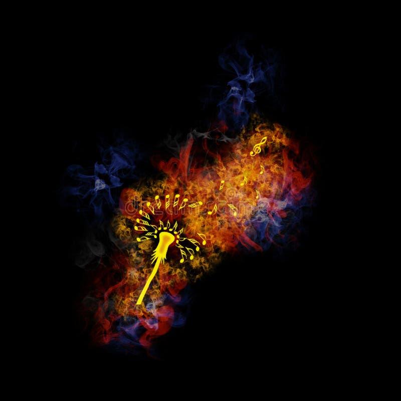 Φλογερή πικραλίδα από τις μουσικές νότες. στοκ φωτογραφία με δικαίωμα ελεύθερης χρήσης