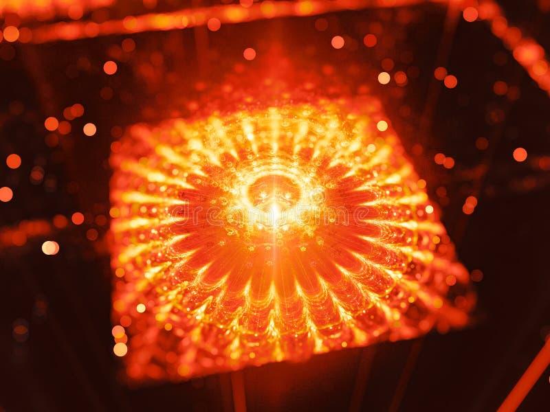 Φλογερός καμμένος κβαντικός επεξεργαστής στο διάστημα απεικόνιση αποθεμάτων