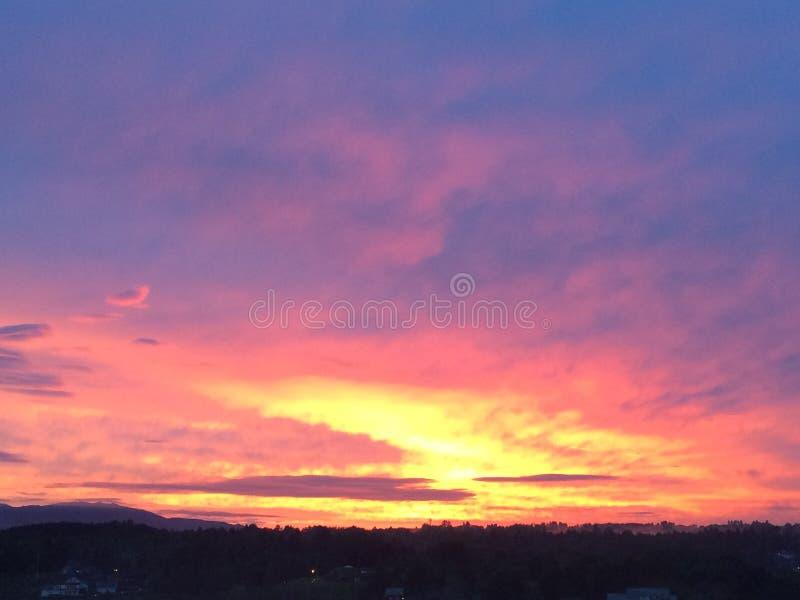 Φλογερό πορφυρό και χρυσό Σκανδιναβικό ηλιοβασίλεμα στοκ εικόνες με δικαίωμα ελεύθερης χρήσης