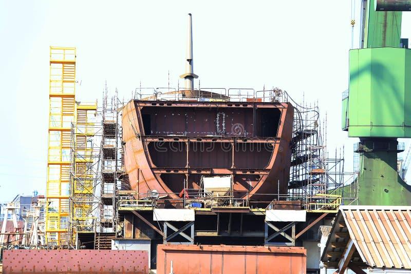 φλούδα σκαφών κάτω από την κατασκευή στο ναυπηγείο στοκ εικόνες με δικαίωμα ελεύθερης χρήσης