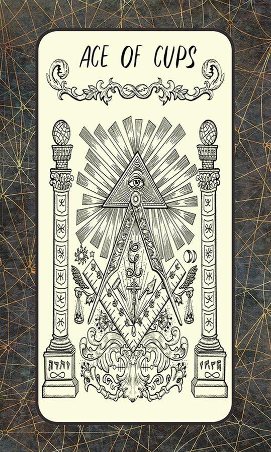 φλυτζάνια άσσων Σημαντική κάρτα Arcana Tarot απεικόνιση αποθεμάτων
