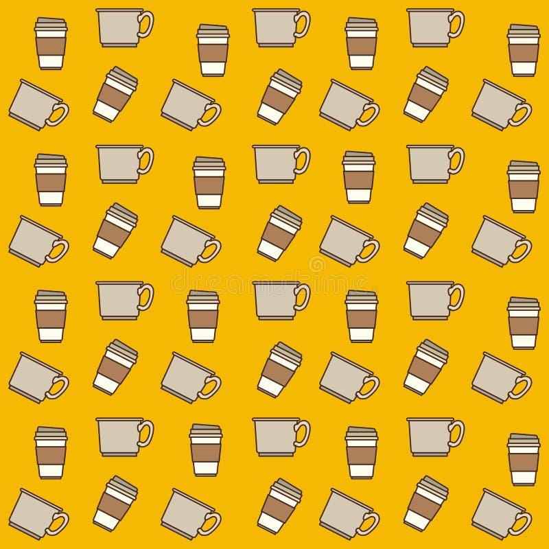 Φλυτζάνια και μίας χρήσης σχέδιο φλυτζανιών ζωηρόχρωμα στο κίτρινο υπόβαθρο απεικόνιση αποθεμάτων