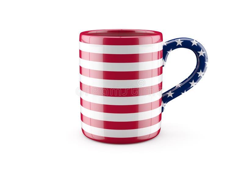 Φλυτζάνι αμερικανικών σημαιών ελεύθερη απεικόνιση δικαιώματος