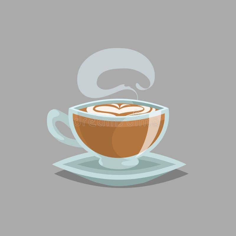 Φλυτζάνι γυαλιού καφέ με τον επίπεδους άσπρους καφέ και τον ατμό Ο αφρός κρέμας γάλακτος στην κορυφή και η καρδιά σύρουν Αναδρομι διανυσματική απεικόνιση