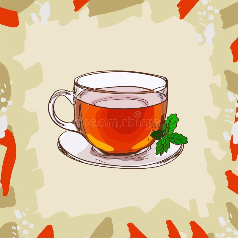 Φλυτζάνι γυαλιού με το κλασικό μαύρο τσάι με τα φύλλα μεντών στο αφηρημένο υπόβαθρο Καυτό σύνολο απεικόνισης ποτών συρμένο χέρι δ απεικόνιση αποθεμάτων