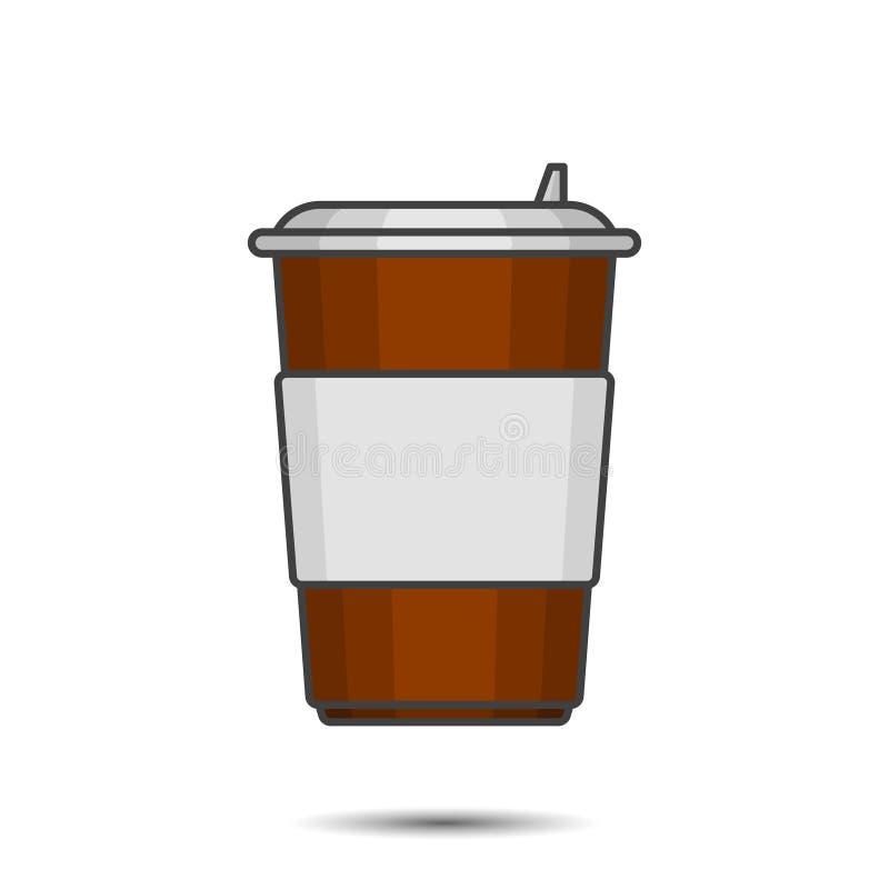 Φλυτζάνι εγγράφου αριθμού για τον καφέ με ένα πλαστικό καπάκι και θέση κάτω από οποιαδήποτε επιγραφή διανυσματικό λευκό καρ&chi απεικόνιση αποθεμάτων