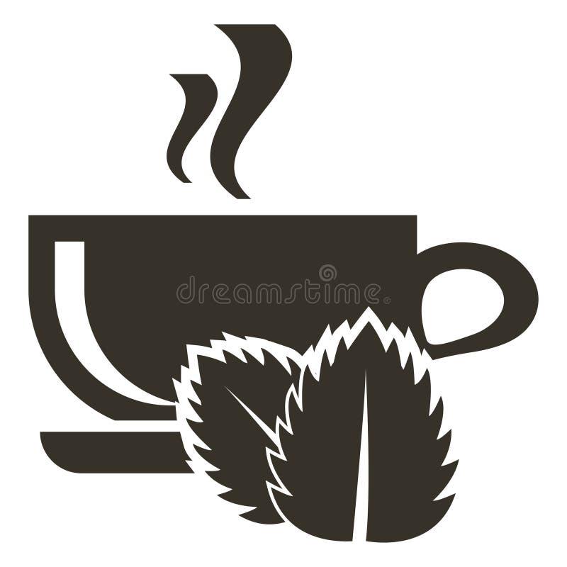Φλυτζάνι εικονιδίων του καυτού τσαγιού με τη γεύση μεντών Λογότυπο στο επίπεδο ύφος απεικόνιση αποθεμάτων