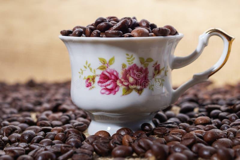 Φλυτζάνι καφέ τα πορφυρά λουλούδια που γεμίζουν με με τα φασόλια στοκ φωτογραφίες
