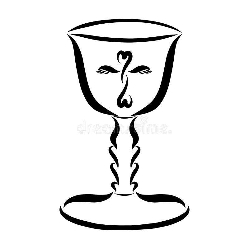 Φλυτζάνι με έναν σταυρό για το Eucharist ελεύθερη απεικόνιση δικαιώματος