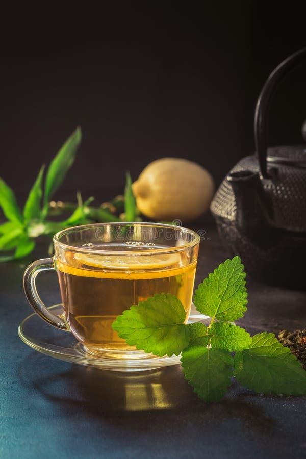 Φλυτζάνι με το τσάι, τη μέντα και μαύρο teapot στο σκοτεινό υπόβαθρο closeup Κινεζική έννοια τσαγιού στοκ φωτογραφία