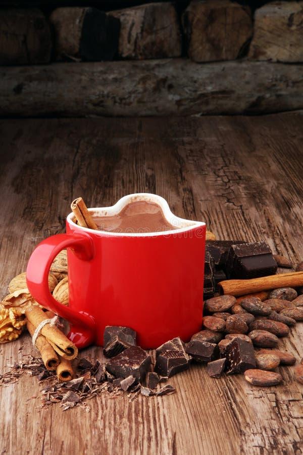 Φλυτζάνι της καυτής σοκολάτας, των ραβδιών κανέλας, των καρυδιών και της σοκολάτας στοκ φωτογραφίες