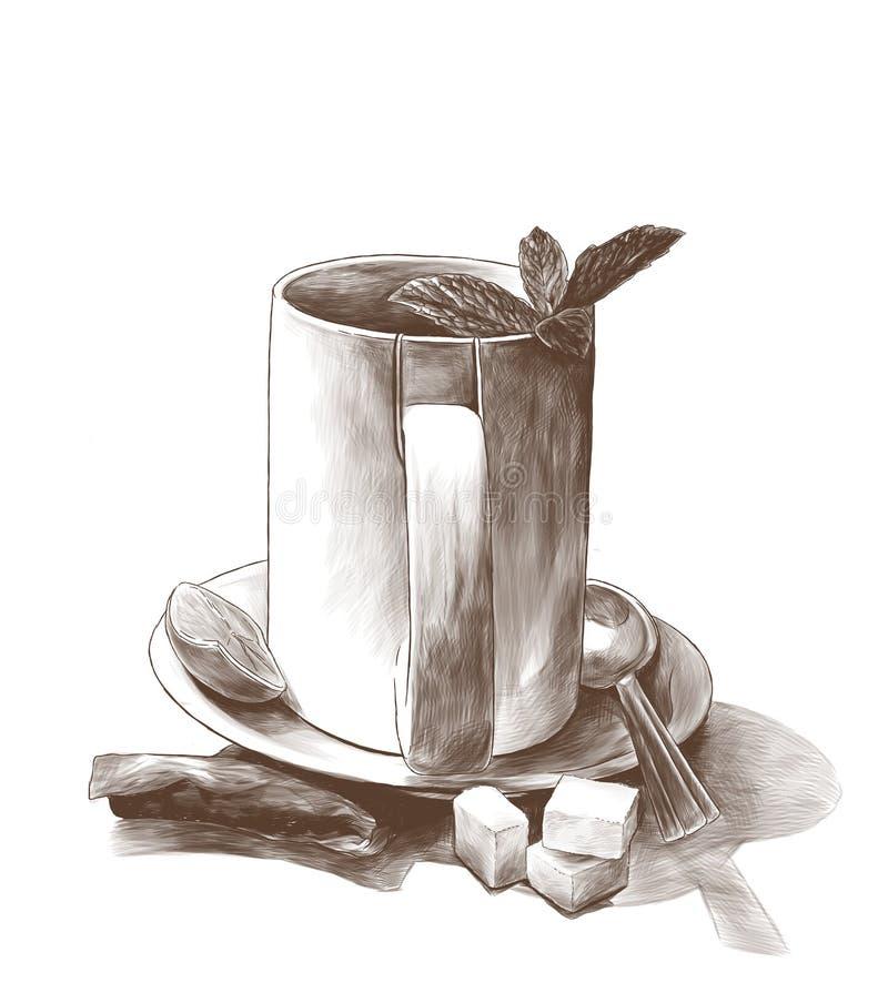 Φλυτζάνι τσαγιού με τα φύλλα μεντών σε ένα πιατάκι με ένα κουταλάκι του γλυκού δίπλα σε μια τσάντα τσαγιού διανυσματική απεικόνιση