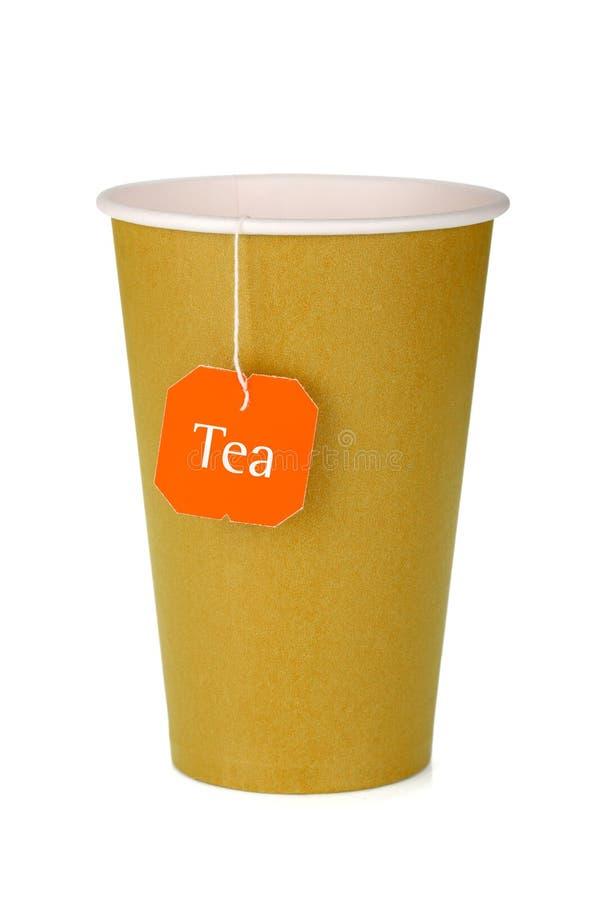 Φλυτζάνι τσαγιού χαρτονιού με teabag στοκ εικόνες