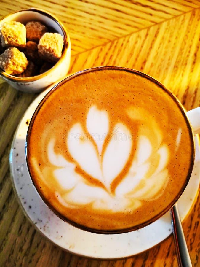 Φλυτζάνι Cappuccino πέρα από τον ξύλινο πίνακα Τέχνη Latte στην κούπα Κλείστε επάνω latte jasmine τέχνης τη γραμμή στην κεραμική  στοκ εικόνα