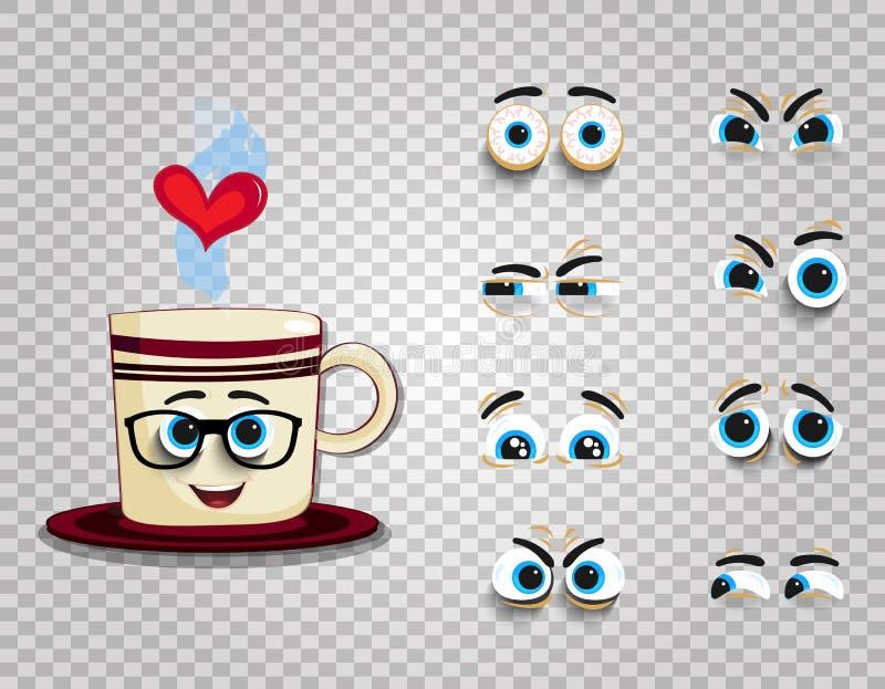 Φλυτζάνι Emoji στα γυαλιά με την εξάρτηση ματιών για τη δημιουργία του comics characte ελεύθερη απεικόνιση δικαιώματος