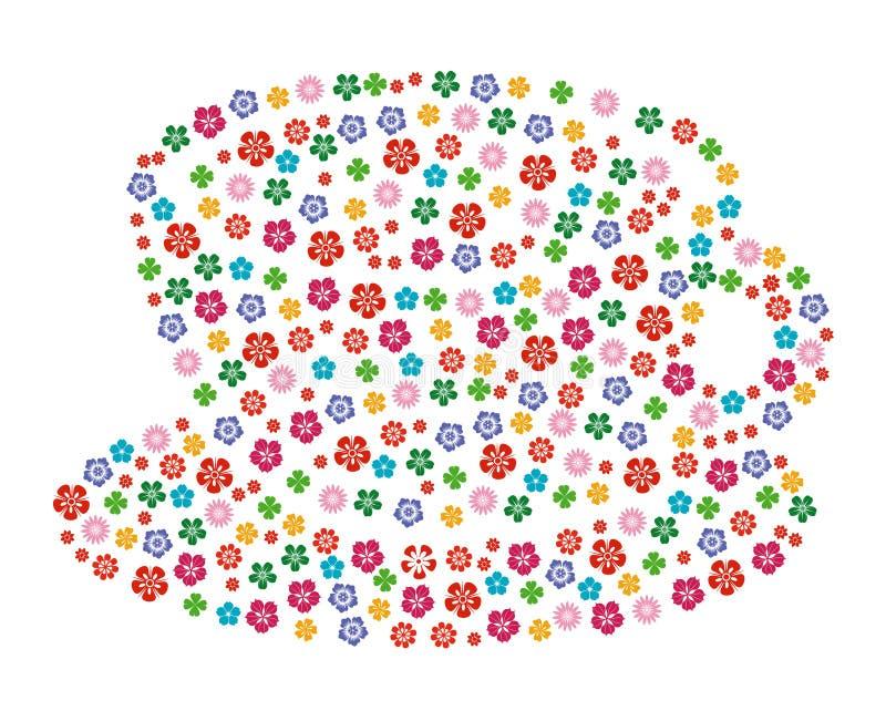 φλυτζάνι floral διανυσματική απεικόνιση