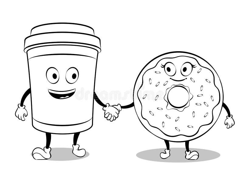 Φλυτζανιών και doughnut καφέ διάνυσμα βιβλίων χρωματισμού ελεύθερη απεικόνιση δικαιώματος