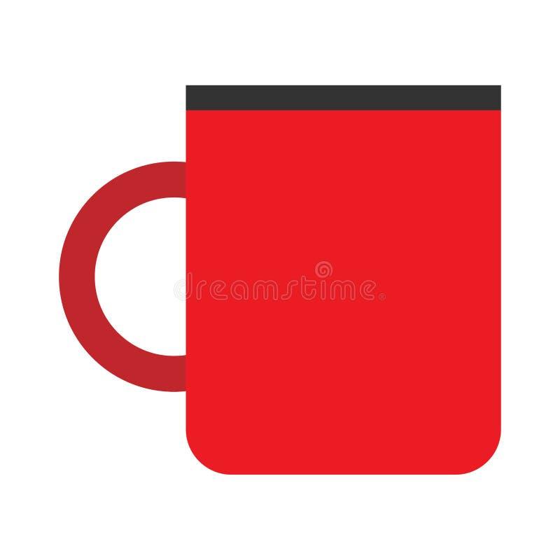 Φλυτζανιών καφέ κόκκινο σημάδι κινηματογραφήσεων σε πρώτο πλάνο πλάγιας όψης διανυσματικό επίπεδο Καυτή κούπα εστιατορίων αρώματο διανυσματική απεικόνιση