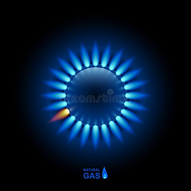 Φλόγα αερίου με την μπλε αντανάκλαση στο σκοτεινό σκηνικό Διανυσματική ανασκόπηση 10 eps ελεύθερη απεικόνιση δικαιώματος