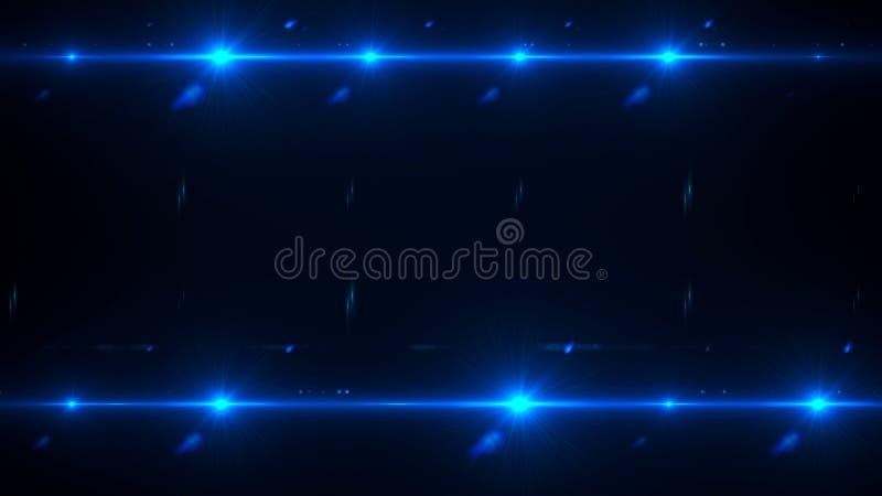 Φλόγα λάμψης καμερών, προβολείς στη σκοτεινή διαστημική αφαίρεση, την τρισδιάστατη απόδοση, το σκηνικό για τη νυχτερινή ζωή και τ ελεύθερη απεικόνιση δικαιώματος