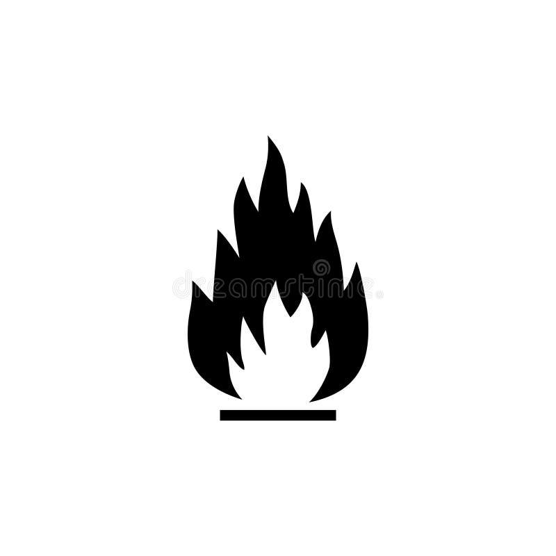 Φλόγα πυρκαγιάς, εύφλεκτο επίπεδο διανυσματικό εικονίδιο απεικόνιση αποθεμάτων