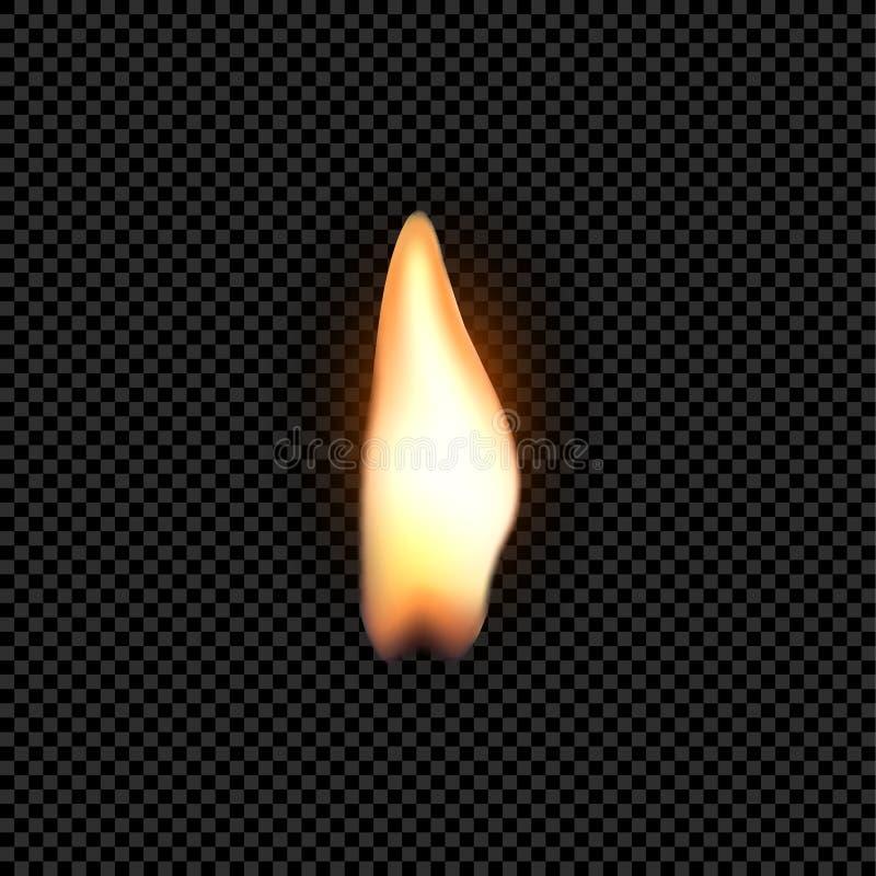 Φλόγα πυρκαγιάς κεριών που απομονώνεται Ρεαλιστική διακόσμηση φλογών κεριών φωτεινή στο Μαύρο ελεύθερη απεικόνιση δικαιώματος