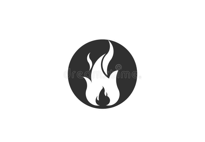 Φλόγα πυρκαγιάς με το αρνητικό διάστημα Διανυσματικό σύμβολο λογότυπων απεικόνιση αποθεμάτων