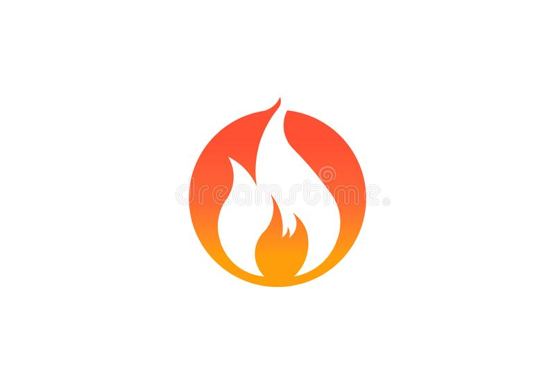 Φλόγα πυρκαγιάς με το αρνητικό διάστημα Διανυσματικό σύμβολο λογότυπων διανυσματική απεικόνιση