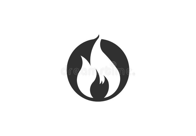 Φλόγα πυρκαγιάς με το αρνητικό διάστημα Διανυσματικό σύμβολο λογότυπων ελεύθερη απεικόνιση δικαιώματος