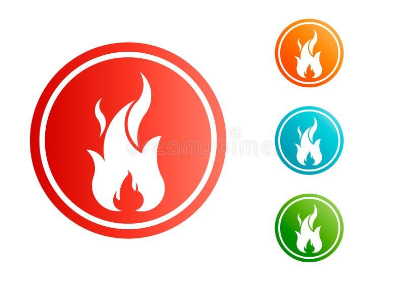 Φλόγα πυρκαγιάς με το αρνητικό διάστημα πολικό καθορισμένο διάνυσμα καρδιών κινούμενων σχεδίων διανυσματική απεικόνιση