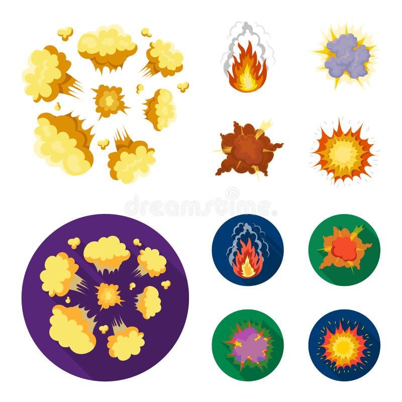 Φλόγα, σπινθήρες, τεμάχια υδρογόνου, ατομική ή έκρηξη αερίου, καταιγίδα, ηλιακή έκρηξη Τις εκρήξεις καθορισμένες τη συλλογή απεικόνιση αποθεμάτων