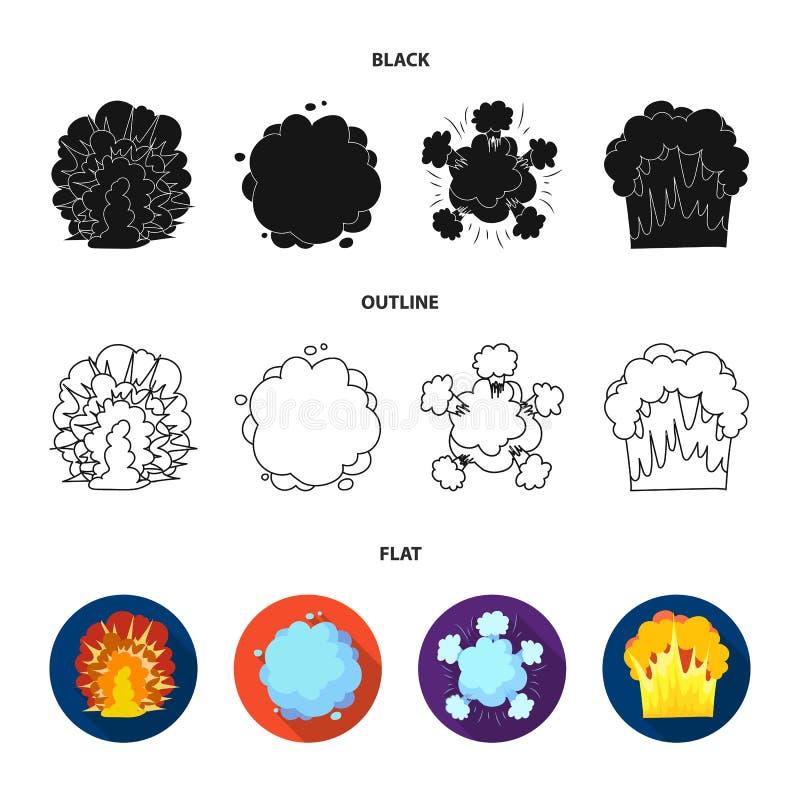 Φλόγα, σπινθήρες, τεμάχια υδρογόνου, ατομική ή έκρηξη αερίου Τις εκρήξεις καθορισμένες τα εικονίδια συλλογής στο διάνυσμα ύφους κ ελεύθερη απεικόνιση δικαιώματος