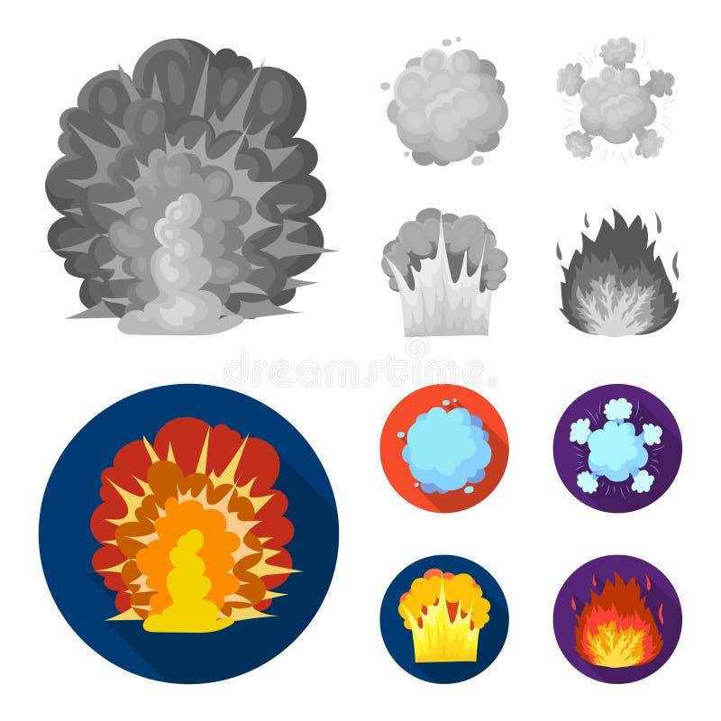 Φλόγα, σπινθήρες, τεμάχια υδρογόνου, ατομική ή έκρηξη αερίου Τις εκρήξεις καθορισμένες τα εικονίδια συλλογής στο μονοχρωματικό, ε διανυσματική απεικόνιση
